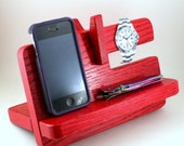Docking Station, Phone Stand, RED,  Charging Station Valet, Nightstand Organization, Glasses Holder, Mothers Day Gift.