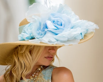 Large Brim Straw Hat With Light Blue Silk Organza Flowers