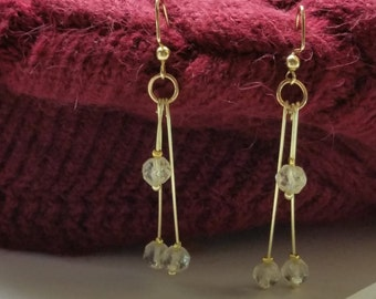 Gold Drop Dangle Earring with 3 Glass Clear Beads per Earring
