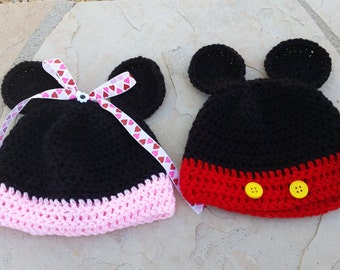 Mickey or Minnie crocheted hat
