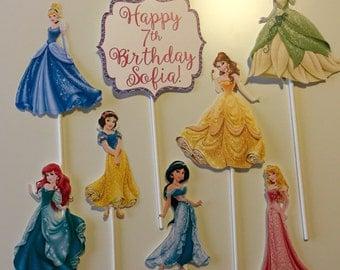 Set of 8 - Disney Princess Centerpiece Picks - Cinderella, Ariel, Belle, Snow White, Tiana, Jasmine, Aurora, Personalized Sign