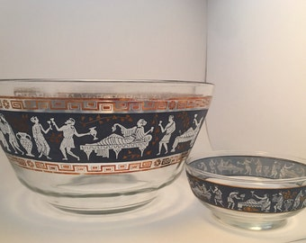 Set of midcentury hellenic Greek, Grecian, Roman, bowls, chip and dip, salad bowl