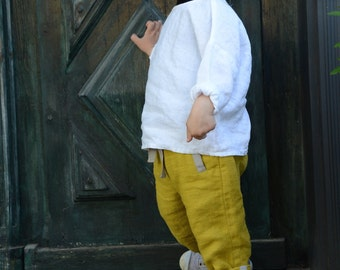 Unisex dark yellow pants trousers for boys and girls made from linen, handmade, organic, light, natural, also available in light melange