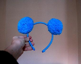 Blue Pom Pom headband