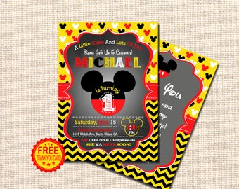 Mickey Mouse Invitation, 1st Birthday Invitation, Mickey Mouse Birthday Invitation, Mickey Birthday, Free Thank You Card, red, yellow