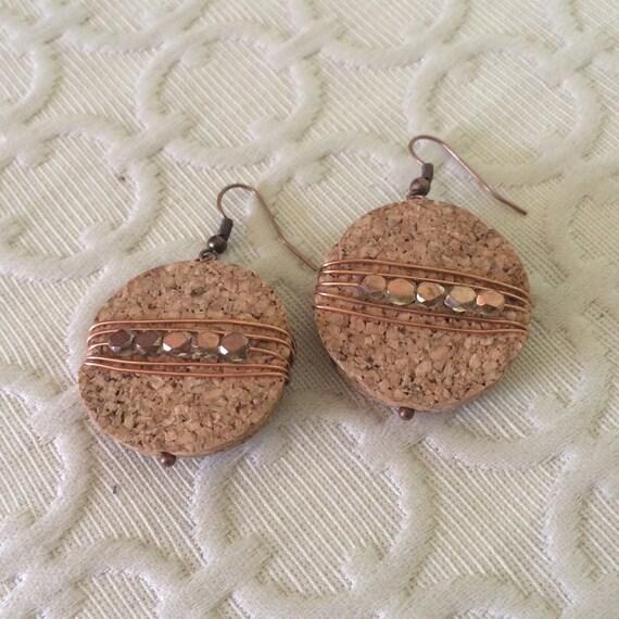 Cork Beads: Wire Wrapped Cork Earrings Boho Jewelry Upcycled Wine Cork