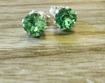Peridot Swarovski Crystal Sterling Silver Earrings