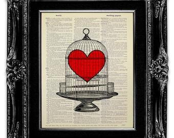 LOVE Gift for Him, HEART Wall Decor, LOVE Wall Decor, Heart Love for Him, Love Heart Gift for Boyfriend, Birdcage Wall Art, Heart Lock Print