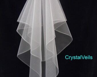 2 tier wedding veil - single line edge - simple & elegant!