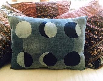 Denim Pillow, Moon Phases, moon cycles, moons, hippie pillow, bohemian pillow, bohemian home