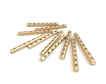 Matte Gold Separator Bar, Spacer Bar, End Bar, Jewelry Connector, Spacer, Multistrand, 7 Hole, Jewelry Finding, Made in Italy, 4pcs, 7226