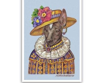 Mexican Hairless Dog Art Print - Señorita - Xoloitzcuintli Prints, Xolo Art - Pet Kingdom by Maria Pishvanova