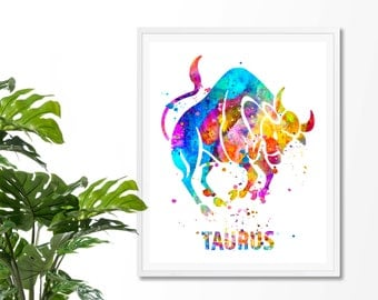 Taurus 3 Watercolor Astrology Art, Taurus Print, Taurus Sign ,Taurus Zodiac, Taurus Wall Art, Taurus Poster,Gifts for Taurus  , Archival Art