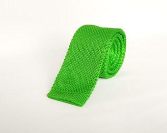 Mens Knitted Green Tie. Skinny Tie Wedding Tie Mens Gift