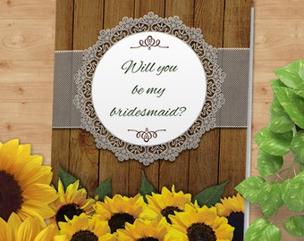 Printable Rustic Watercolor Sunflowers and Lace Greeting Bridesmaid Thank You Card; Editable PDF Instant Download