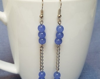 Light blue glass round beads and silver chain earrings, blue earrings, dangle earrings, silver, chain, periwinkle, purple