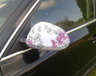 Floral side mirror covers Car accessory Car decorations Accessories for woman Car decors Mirror cover Birthday gift Flowers covers Set of 2