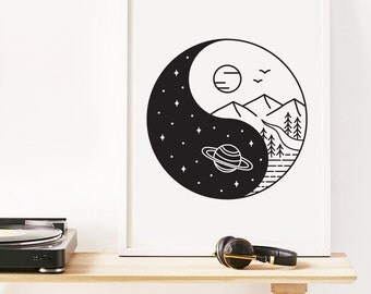Yin yang decor etsy ca for Decoration murale yin yang