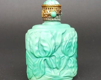 Sale Malachite Vintage Jade Glass Morlee Creation Iris Motif Perfume Bottle With Jeweled Gold Cap And Applicator