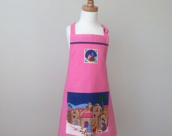 Girls Christmas in July Apron (Fits Ages 3-6), Girls Apron, Kids Apron, Girls Pink Apron, Christmas Gift, Gifts for Kids, Stocking Filler