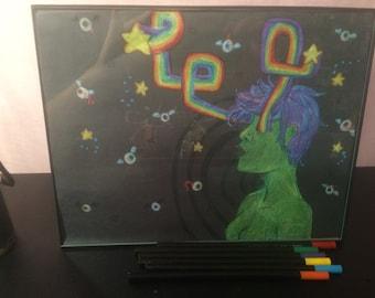 Star stream pastel illustration. Framed