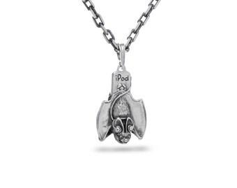 Bat Jewelry, Music Jewelry, Bat pendant / Solid sterling silver (silver 925)