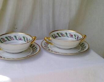 Haviland  Limoges boullion bowls. 2 bowls or cups and saucers.
