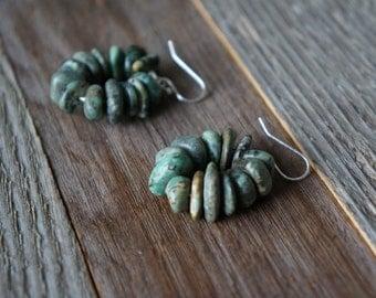 Green Stone Hoop Earrings, Earth Tone Earrings, Beaded Hoop Earrings, Green and Silver Earrings, Mulit-Colored Green Stone