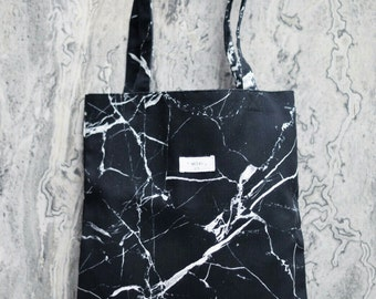 Black Marble High Quality Canvas tote bag