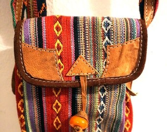 Small Bohemian Messenger Passport Bag leather cotton