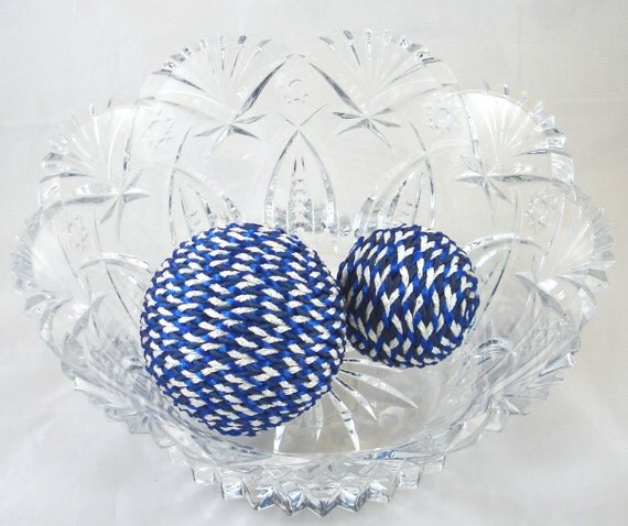 Set of iridescent white blue decorative balls by sixpickle