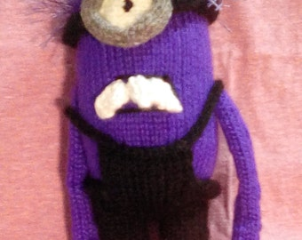 knitted, evil, minion, toy, purple