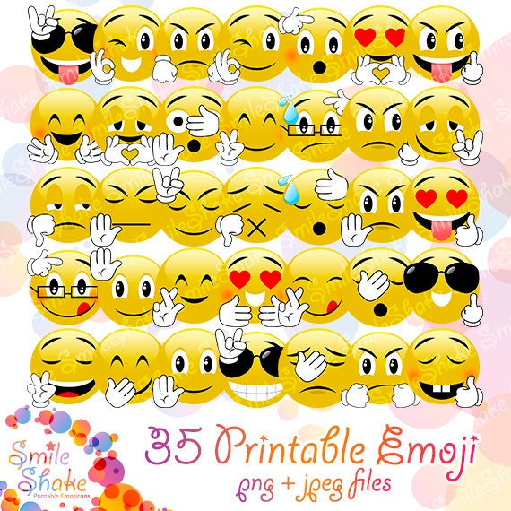 35 emoji smiley faces clip art emoji download kawaii clipart emoticons party supplies emoji printables instant download emotions expressions