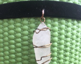 Clear Quartz Wire Wrapped Choker