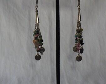 Vintage Multi Color Stone Chandelier Earrings