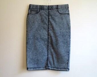 Grey Vintage Skirt Denim Skirt Pencil Skirt Denim Knee Skirt Acid Washed Jeans Stretchy Skirt Size M