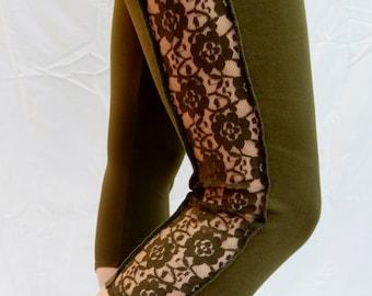Olive Lace Leggings