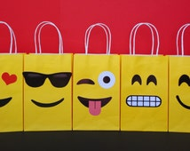 Instant Download Emoji Favor Bags DIY - Emojis Party/ Goody/ Candy Bags, Emoji Goodie Bags, Emoji Gift/ Loot Bags, Emojis Birthday Favors