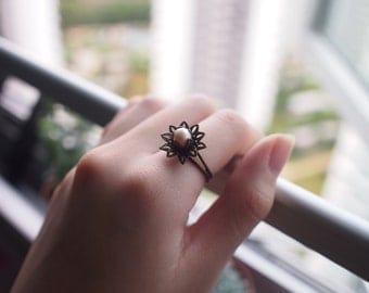 Lotus Ring with Natural Freshwater Pearl