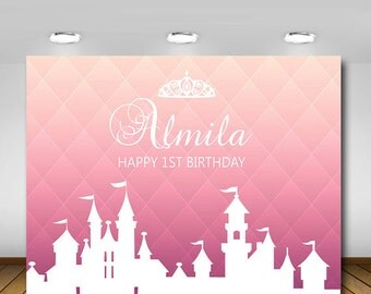 Printable, Royal, Pink White, Princess Themed, Crown, Tiara, Castle, Backdrop, Birthday Party , 1st Birthday, Baby Shower, Christening
