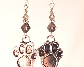 Silver Pawprint Earrings with Light Gray and Dark Smoky Swarovski Crystals, Gray Jewelry, Gray Crystals, Smoke Crystals, Dog Jewelry