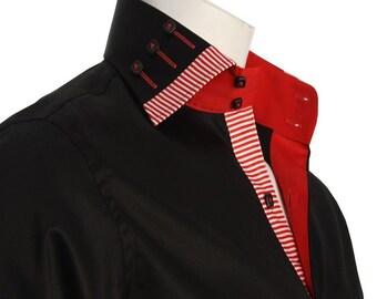 Men's Formal Shirt Men Italian Shirt Designer Regular Fit Casual Long Sleeve Black 10007