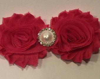 Chiffon flower with pearl and rhinestone embellishment
