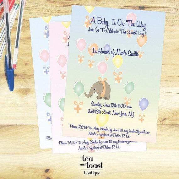 Gift Box Baby Shower Invitations : Elephant baby shower invitation with gift boxes and balloons