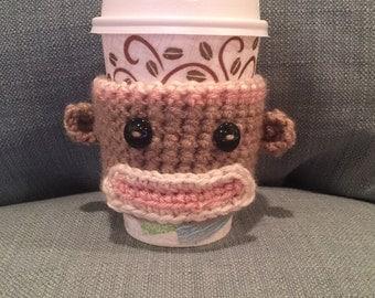 Crochet Sock Monkey Coffee Cozy | Cup Cozy | Koozy