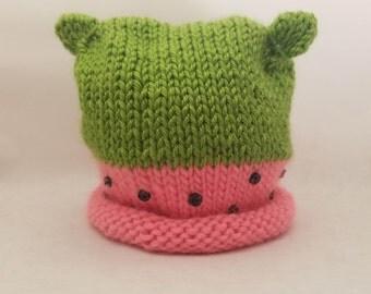 Summertime Watermelon Baby Hat - knitted newborn hat