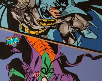"Batman Joker Large Painting on Canvas 48X36"" Original Art by PAPA"