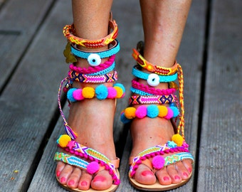 Pom Pom 'Let it Be' Festival Sandals by Borsis (handmade to order)