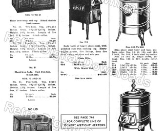 DIGITIZED Vintage Catalog Page of Camp Stoves, Kitchen Heaters and Trash Burners for INSTANT DOWNLOAD, File Types: tif, jpeg, pdf, file #748