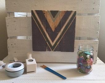 Handmade Chevron Wooden Sign